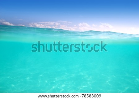 clear waterline caribbean sea underwater and blue sea