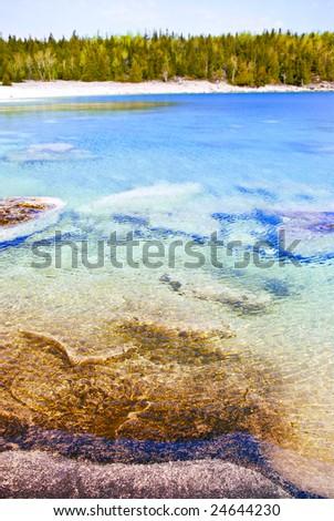 Clear waters of Georgian Bay at Bruce peninsula Ontario Canada