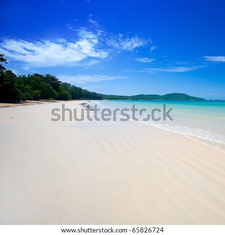 Clear waters of the Andaman sea with blue skies