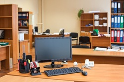 Clear working place with new computer equipment is ready for human resources