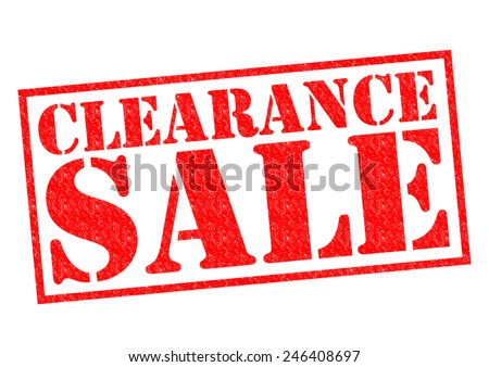 CLEARANCE SALE red Rubber Stamp over a white background.
