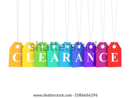 Clearance text on colored hanging labels 3D render