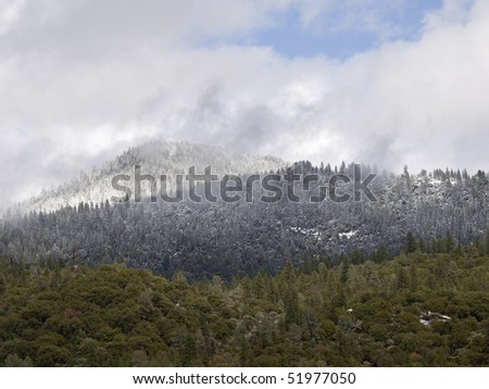 clearing snow storm in yosemite valley,california,april 2010. - stock photo