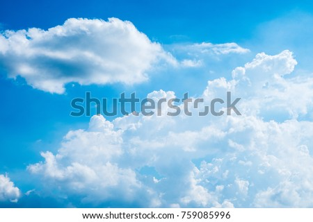 Clearing up blue sky and white clouds. - Shutterstock ID 759085996
