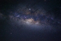 Clearly milky way galaxy at night. Image contains noise and grain due to high ISO. Image also contains soft focus and blur due to long exposure and wide aperture.