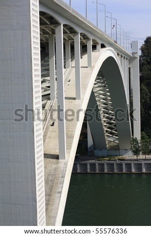 clearly visible concrete structure of the bridge - stock photo