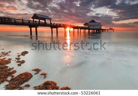 Clearwater beach Florida Sunset - stock photo