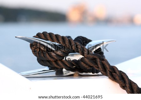 Cleat and rope, yacht detail