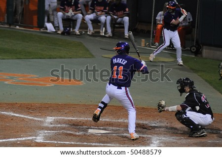 CLEMSON, SC - MARCH 24: Clemson's Kyle Parker at bat at Clemson University in college baseball action on March 24, 2010 in Clemson, SC