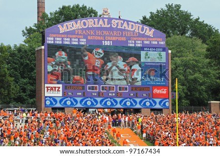 CLEMSON, SC - SEPT. 11: Scoreboard at Clemson's Memorial Stadium before taking on Presbyterian College on September 11, 2010 in Clemson, South Carolina.  Clemson defeated Presbyterian 58-21.