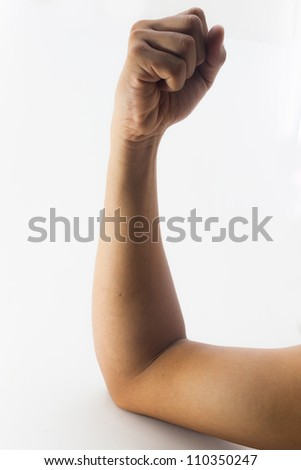 clenched fist hand closeup white background