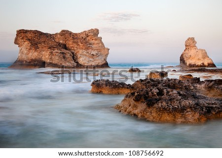 Cleopatra's beach famous rocks near Marsa Matruh, egypt - stock photo