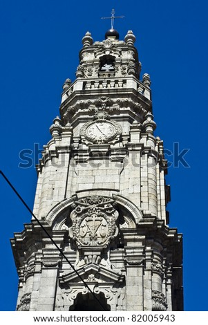 Clerigos tower (Torre dos Clerigos) in the blue sky, the panoramic viewpoint of Porto, Portugal