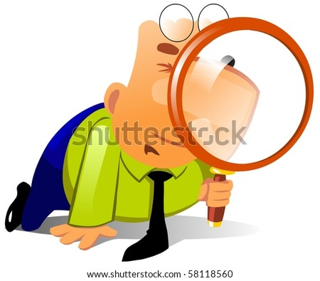 Clerk with big magnifying glass look for something.