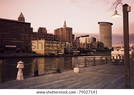 Cleveland during sunset - downtown seen accross Cuyahoga River
