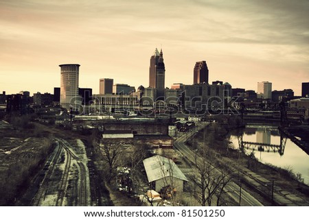 Cleveland during sunset. Panorama of the city with Cuyahoga River. - stock photo