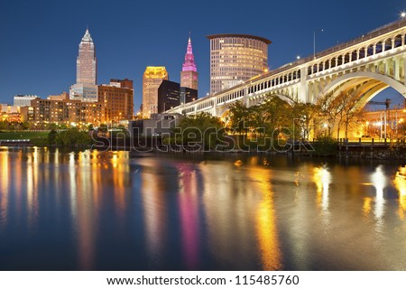 Cleveland. Image of Cleveland downtown at twilight blue hour.
