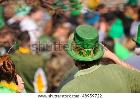 CLEVELAND - MARCH 17: Gaudily dressed spectators at the 143rd annual St. Patrick's Day Parade on March 17, 2010, in Cleveland, Ohio
