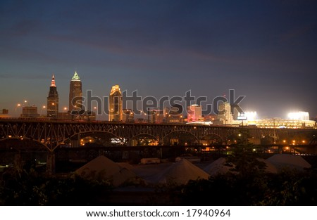 Cleveland Night Skyline showing Baseball Stadium and Gravel Piles in the Flats