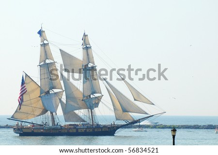 CLEVELAND, OH - JULY 7: The U.S. brig Niagara (1988 reconstruction) sails in the Parade of Ships that began the 2010 Cleveland Tall Ships Festival (July 7-12) on July 7, 2010 in Cleveland, Ohio