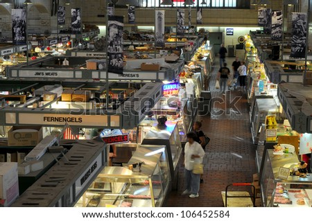 CLEVELAND, OH - JUNE 27: Customers begin to arrive early on June 27, 2012, in the the famed West Side Market in Cleveland, Ohio, which is celebrating its centennial in 2012.