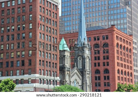 Cleveland, Ohio - old and new architecture. United States.