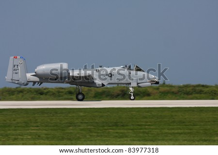 CLEVELAND, OHIO - SEPT. 3: A-10 Thunderbolt (Warthog) jet performs at the Cleveland National Airshow on Sept. 3, 2011 in Cleveland, Ohio.
