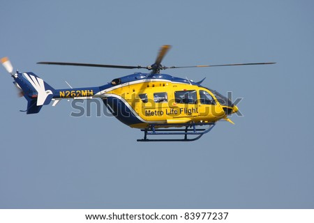 Cleveland Ohio  Sept 3 Metro Life Flight Helicopter Performs At The Cleve
