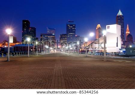 Cleveland, Ohio Skyline at Sunset from Voinovich Park.