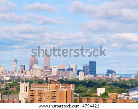 Cleveland, Ohio, skyline looking west at the city in morning light - stock photo