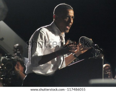 CLEVELAND, OHIO, USA - OCTOBER 25, 2012: On President Obama addresses a crowd while at a campaign stop at Burke Lake Front Airport on October 25,2012 in Cleveland, Ohio, USA.