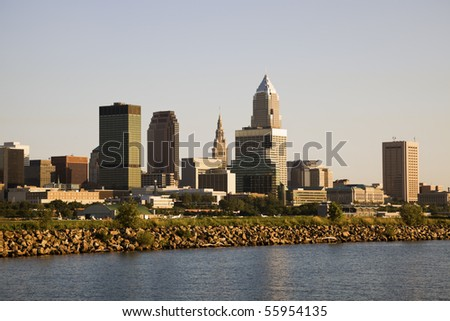 Cleveland, Ohio, USA seen from the lake.