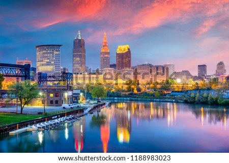 Cleveland, Ohio, USA skyline on the Cuyahoga River.