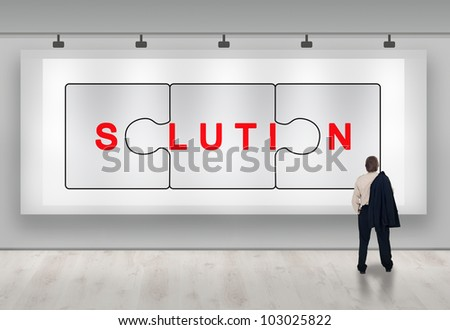 Clever business solutions advertisement banner with businessman looking