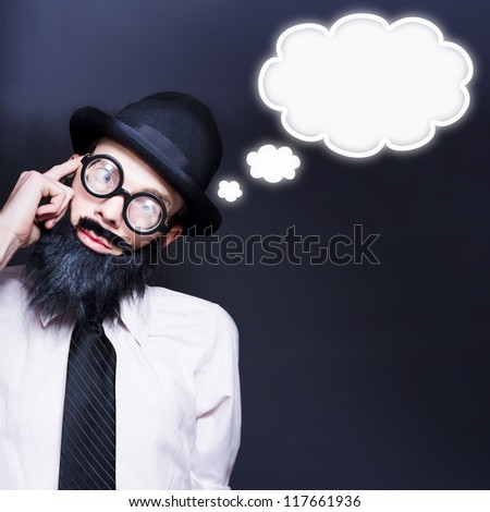 Clever Businessman Wearing Geek Glasses Dreaming Up Ideas Of Inspiration With Copyspace Thought Clouds