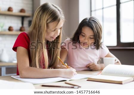 Clever multiethnic girls doing homework together