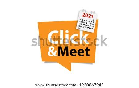Click and Meet Shopping Button Background Photo stock ©
