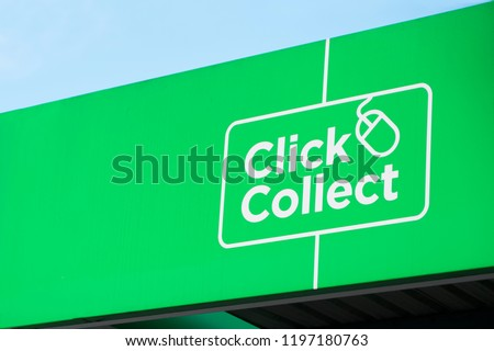 Click collect online shopping quick easy green sign #1197180763