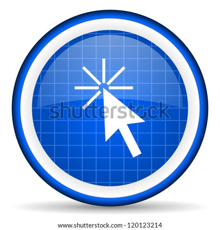 click here blue glossy icon on white background