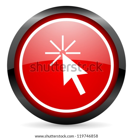 click here round red glossy icon on white background