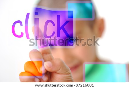 Click on screen, kid pressing digital button