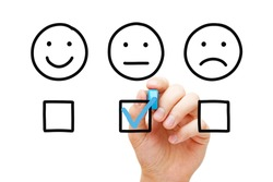 Client leaving average rating with blue marker on customer feedback evaluation form. Drawn faces survey concept.