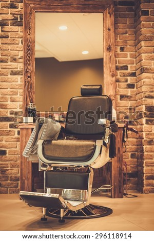 Client's chair in barber shop #296118914