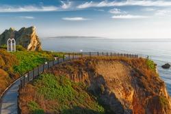 Cliff access walkway at Shell Beach, Pismo Beach area, California Coastline. Beautiful lighting, golden hour, sunset, Pacific Coast