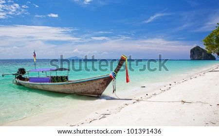 Cliff and boat in Phi Phi Leh south of Thailand