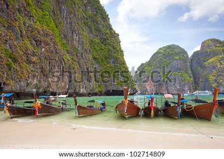 Cliff and boats in Phi Phi Leh Thailand