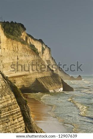 Cliff at northwest coast of Corfu, Greece