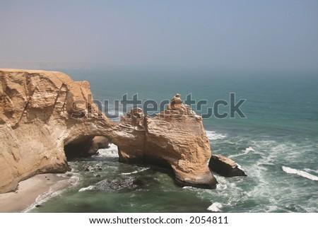 Cliff in the Paracas park in Peru