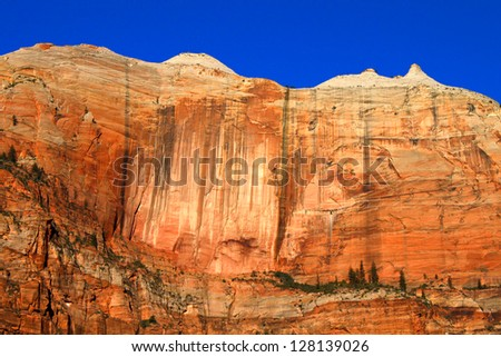 Cliff known as the Streaked wall of Zion National Park in Utah