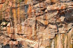 Cliff of rock mountain, Bonaventure Island Gaspesie, Quebec, Canada